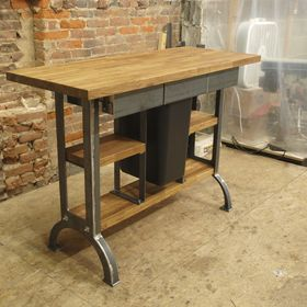 Industrial Kitchen Island Console Table