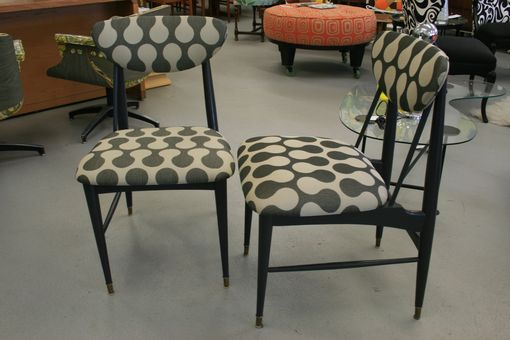 Custom Made Pair Of Graphite Gray And Hourglass Print Accent Chairs