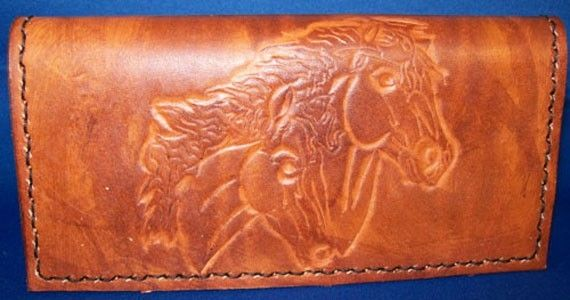 Buy A Hand Crafted Custom Leather Checkbook Cover With Horse Design And In Weathered Color Made
