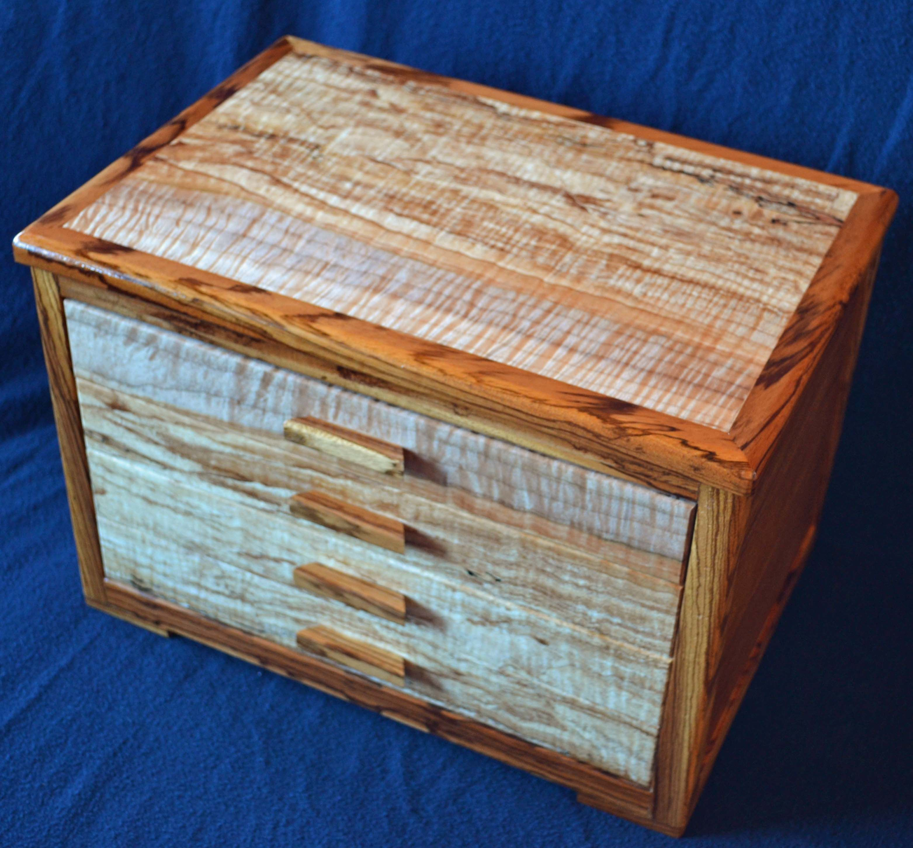 Hand crafted four drawer jewelry box with unique spalted for Custom made ring box