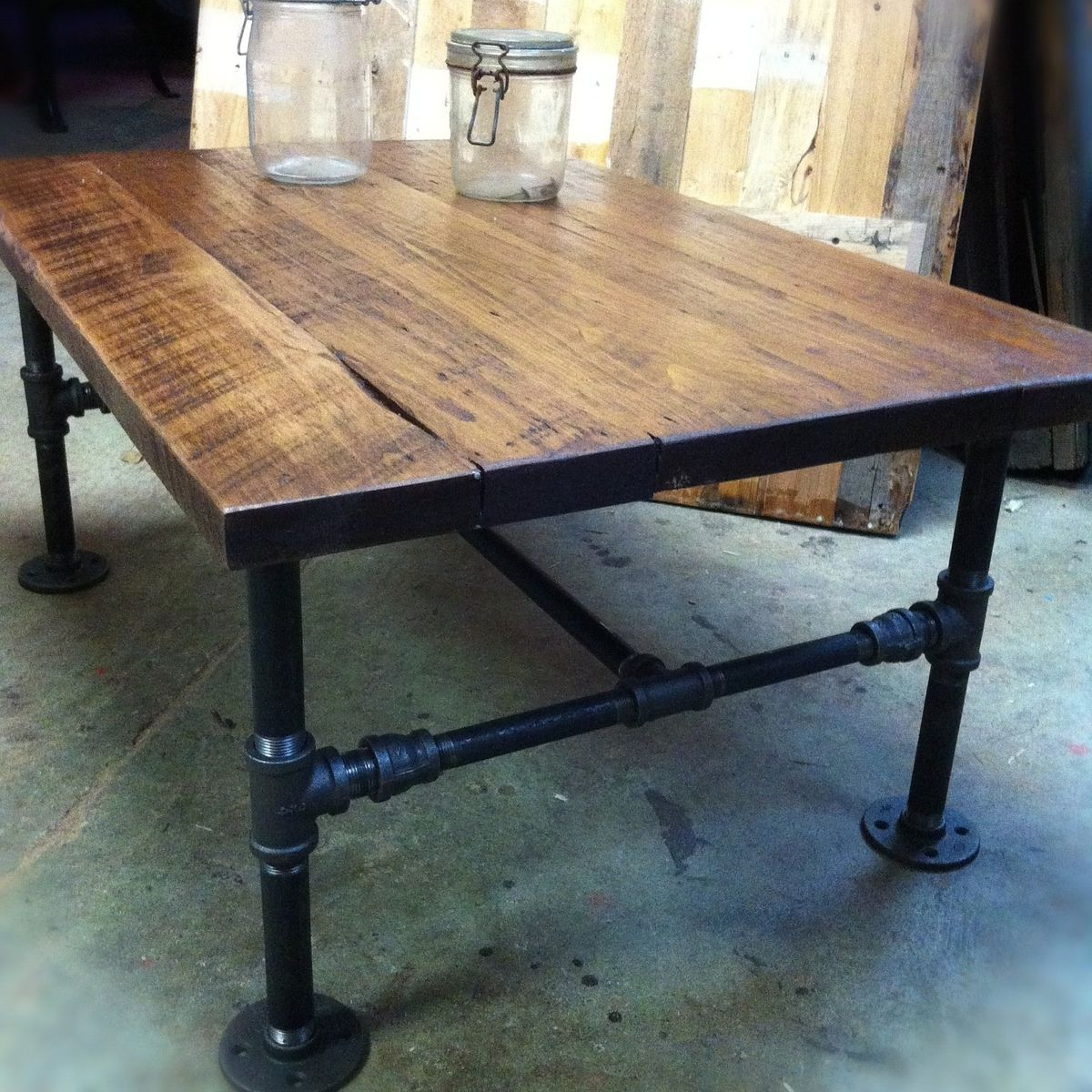 Handmade Reclaimed Wood Coffee Table: Custom Made Industrial Cast Iron Pipe Coffee Table By J&S