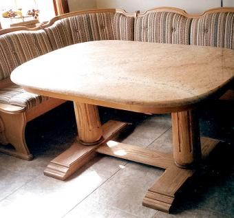 Custom granite ash dining table by robinsons custom for Custom made marble dining tables