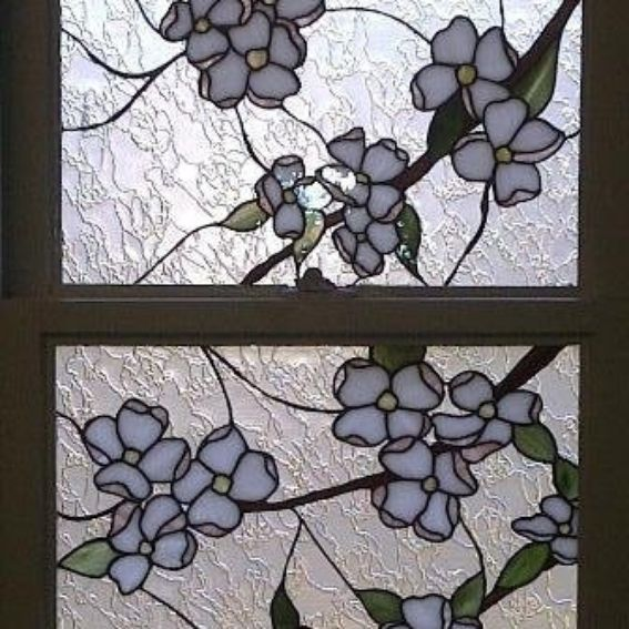 Hand Crafted Stained Glass Windows Dogwood Flower Design
