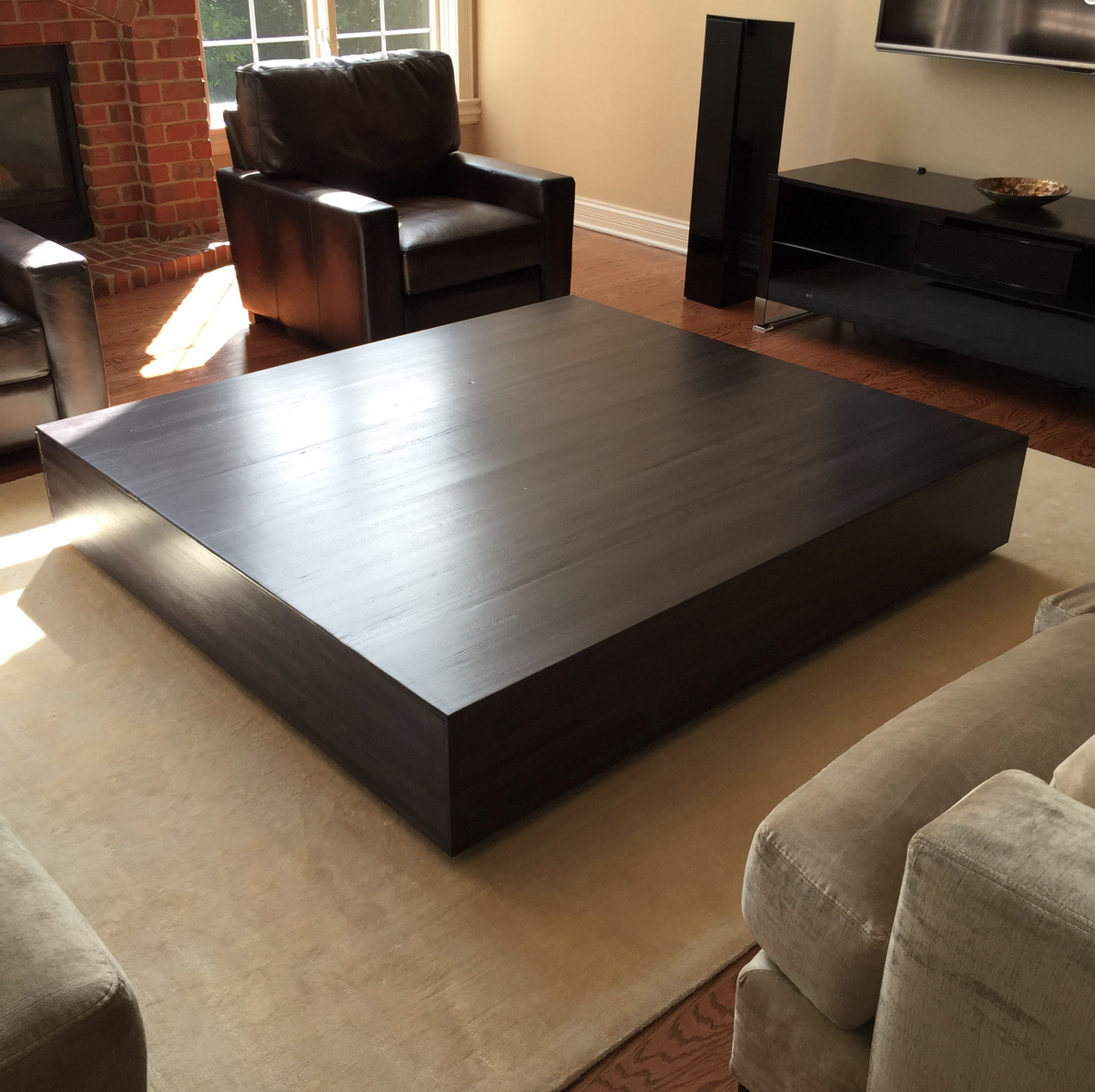 Buy a hand made ultra modern large coffee table with pull for Large wood coffee table square