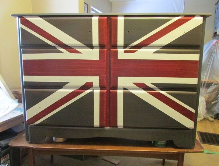 Hand Made Union Jack Dresser Chest Of Drawers Table