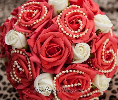 Custom Made Guava Red And Cream/Ivory Wedding Bouquet With Ivory Pearls, Victorian Style With Lace And Pins