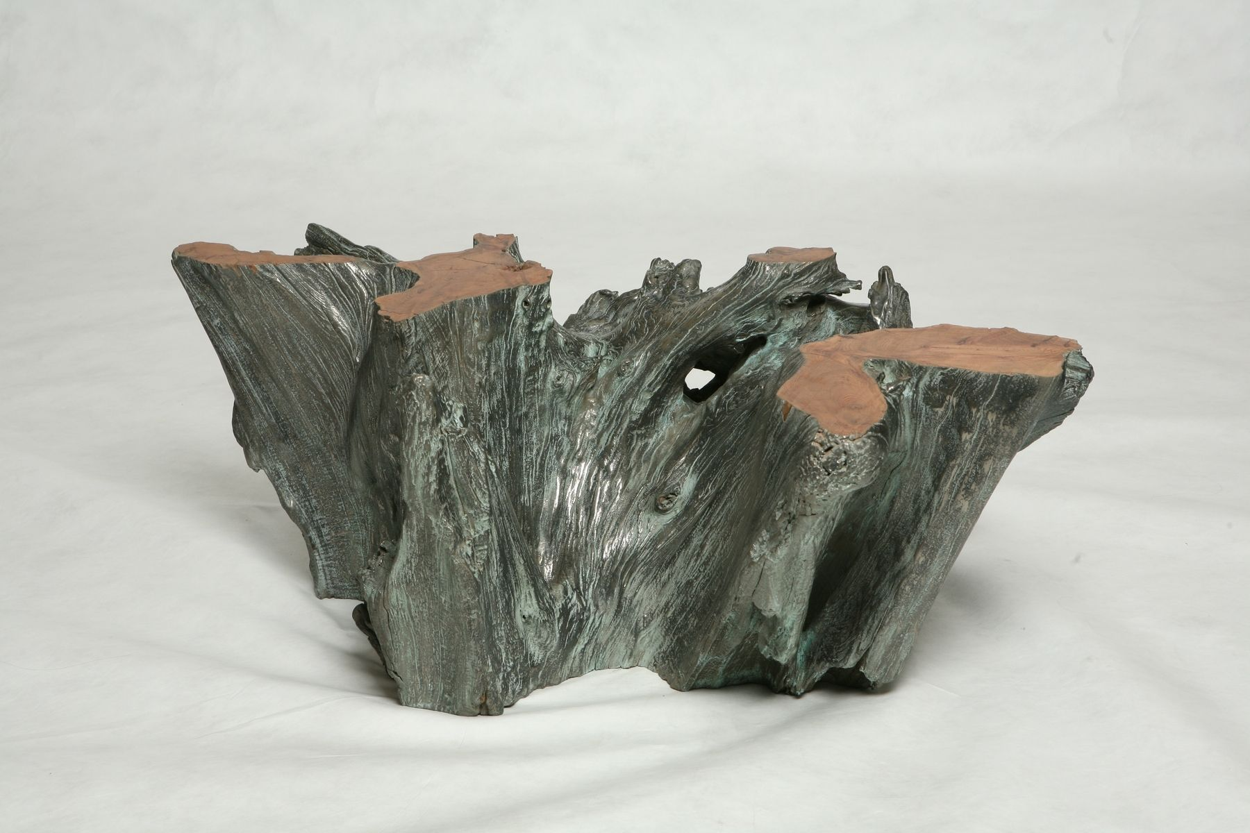 Custom made silver covered tree trunk coffee table by jose eguez ebanista Silver trunk coffee table