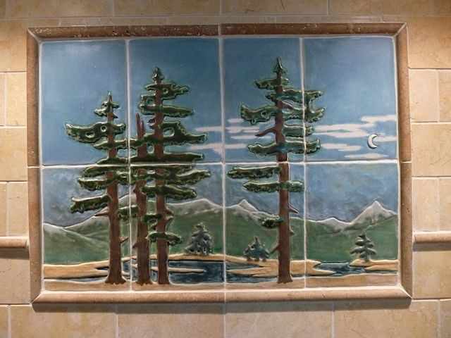 Hand Crafted Craftsman Style Landscape Tiles For Stove