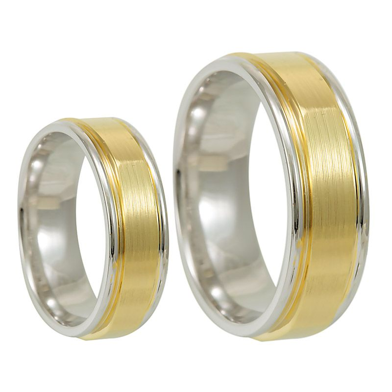crafted 14k two tone wedding band comfort fit