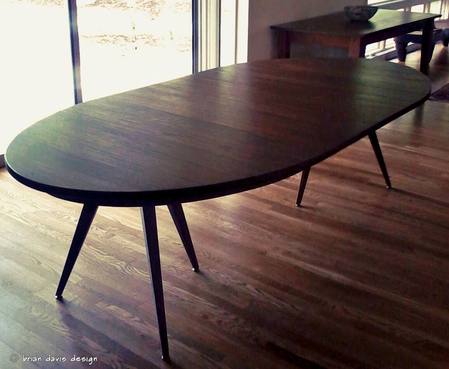 Custom solid walnut tripod oval expanding dining table by for Oval dining table
