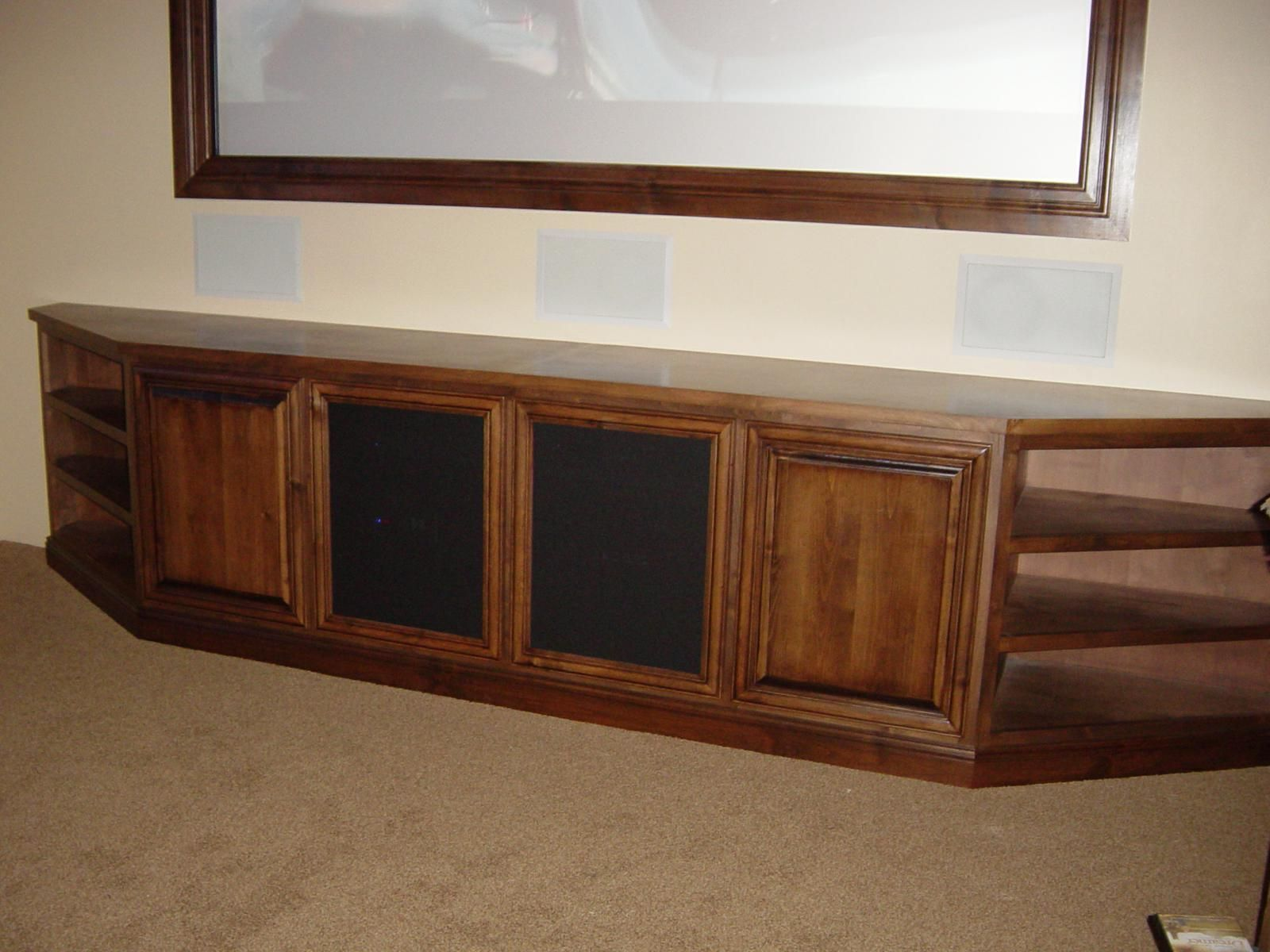 Custom alder wood audio video furniture by ck valenti for Custom wood cabinets