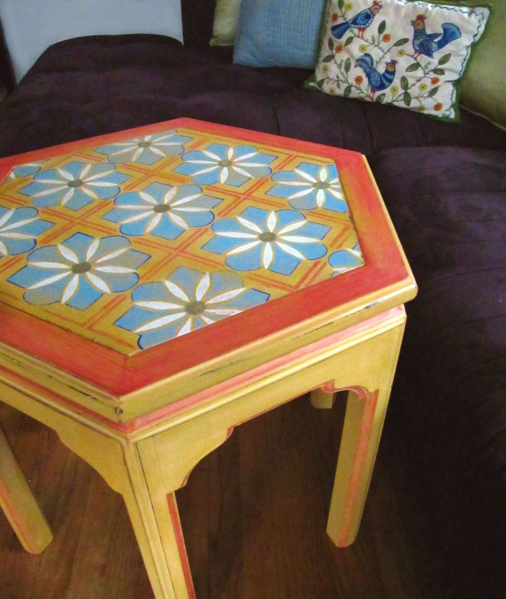 Hand Made Moroccan Inspired Hand Painted Hexagon End Table