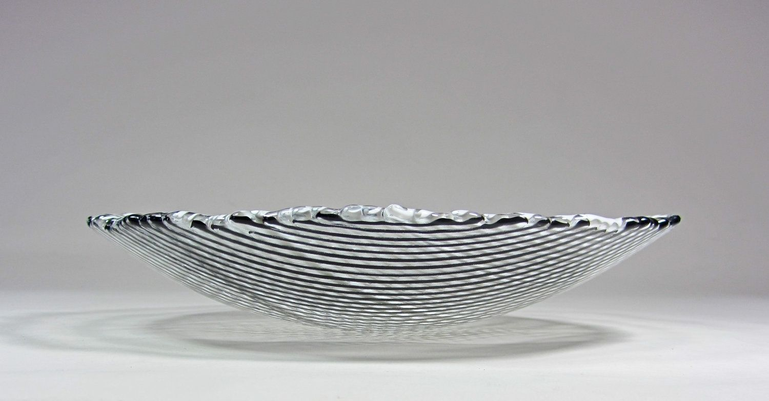 Art Glass Bowl Black And White Stripes 9 Inch Fused Glass