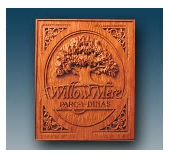 Custom Made Willowmere Carved Oak Estate Sign