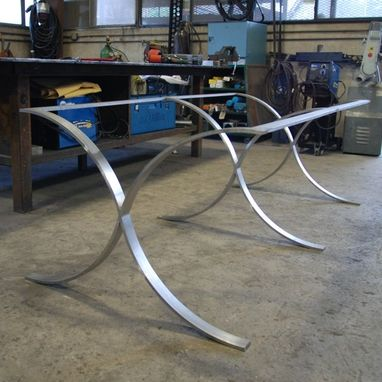 Custom Made Custom Stainless Steel Table Frame And Pecan Top