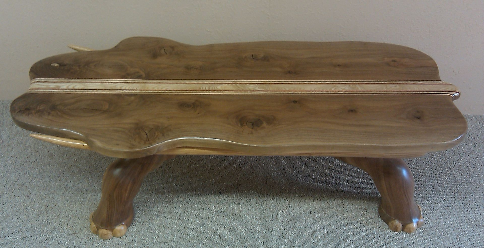 Custom walnut elephant coffee table by fbt sawmill custom wood furniture Elephant coffee table