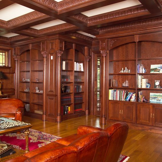 Custom Library And Coffer Ceiling by New Jersey Hardwoods ...