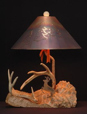 Custom Made Whitetail Lamp On Maple Burl With Iron Deer Silhouette