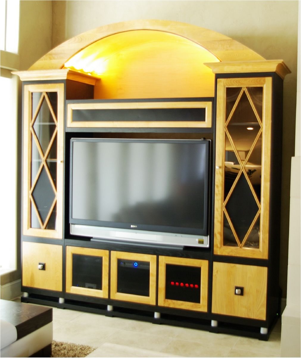 Hand Crafted Natural Maple Wood Entertainment Center By