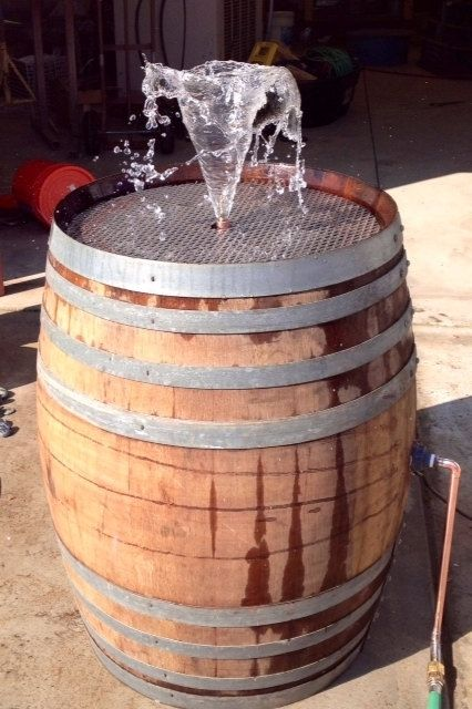 Hand Made Wine Barrel Fountain With Bird Bath Feature By