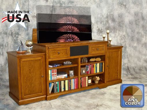 Custom Made Honey Oak Television Lift Furniture With Bookcase And Display