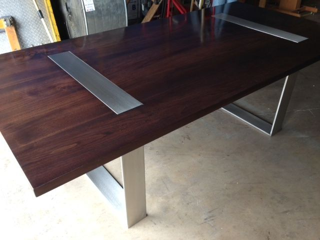 Walnut And Stainless Steel Table