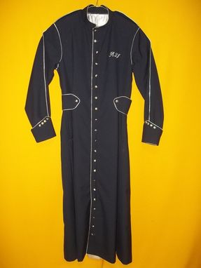 Custom Made Cassock , Preaching Robe Hand Made In Navy Wool Gaberdine, Accented With Silver Metallics