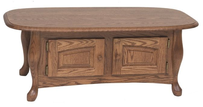 Custom solid oak queen anne storage coffee table by oak for Mobili in quercia