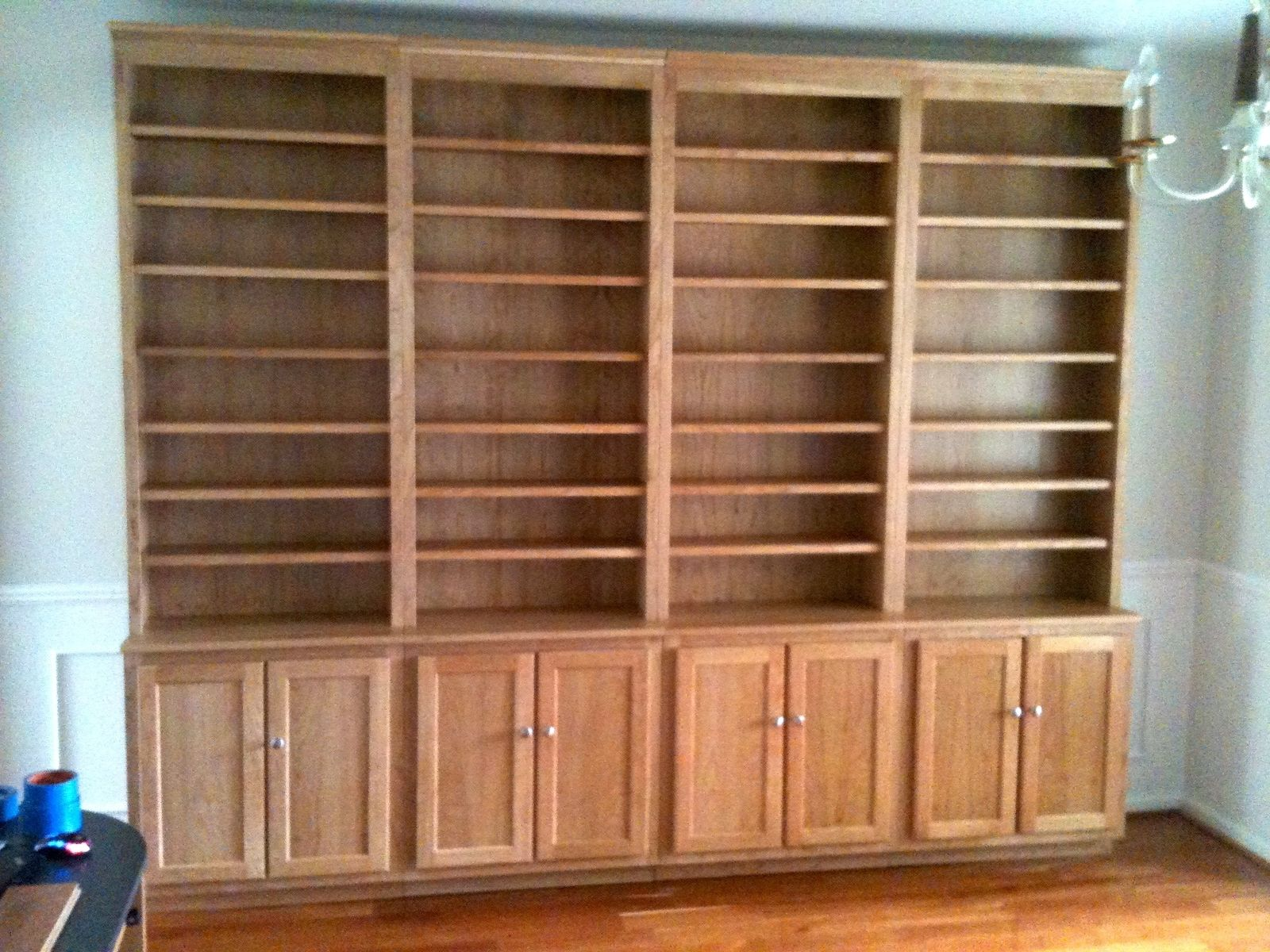 Custom stand alone cherry bookcases by the plane edge llc for Custom bookcase plans