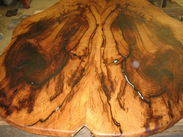 Hand Made Mesquite Oval Table Top With Turquoise Inlay By