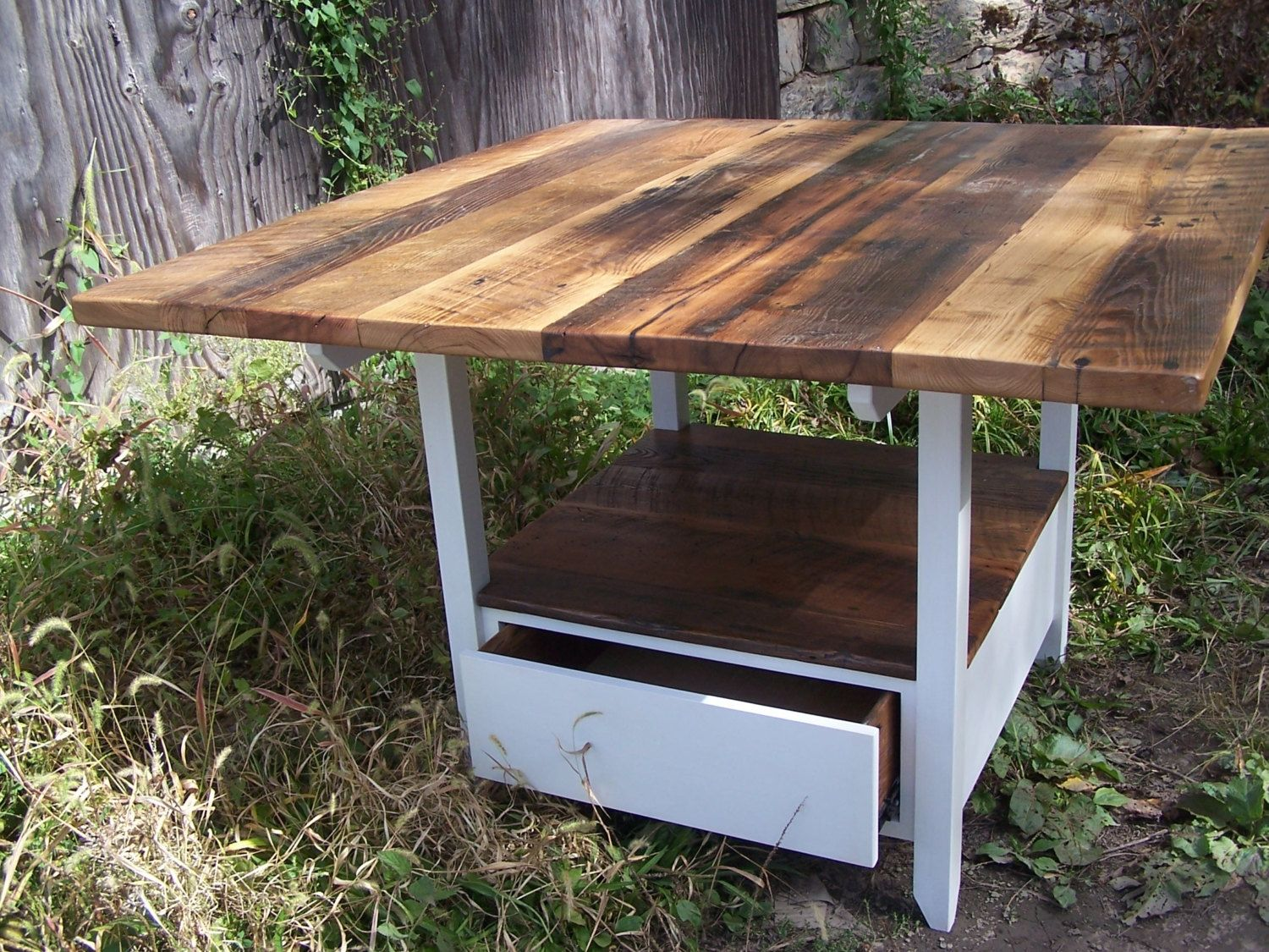 buy a handmade reclaimed wood kitchen table with storage