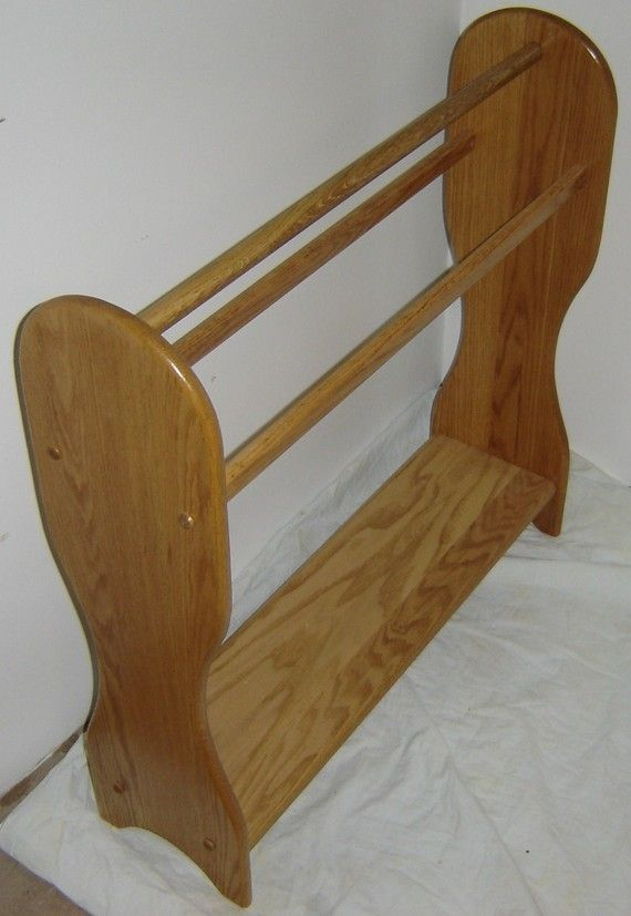 Custom New Solid Red Oak Wood Blanket Quilt Rack Stand