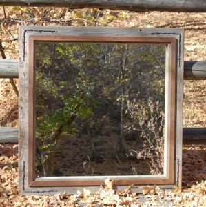 Custom Made Western Mirror - Barnwood With Alder Overlay And Barbed Wire