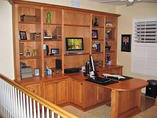 Custom Made Custom Two-Sided Island Computer Desk, File Cabinet And Bookcases