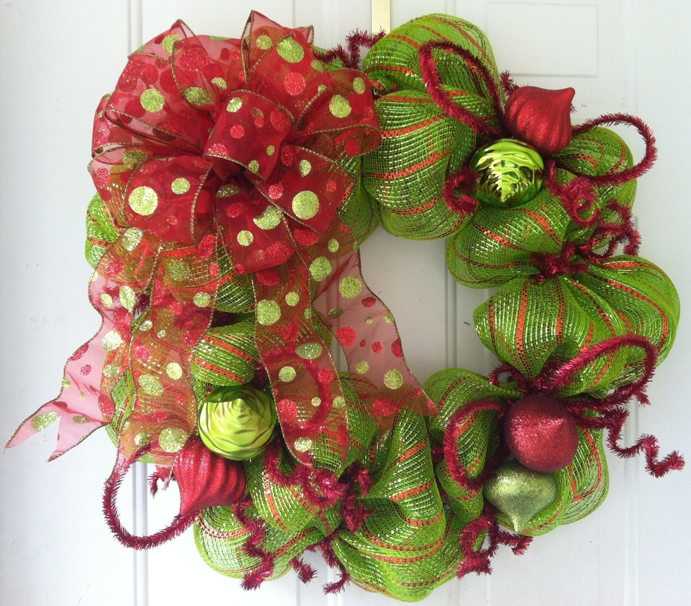 Hand Made Lime Green & Red Striped, Polka Dot Bow ...