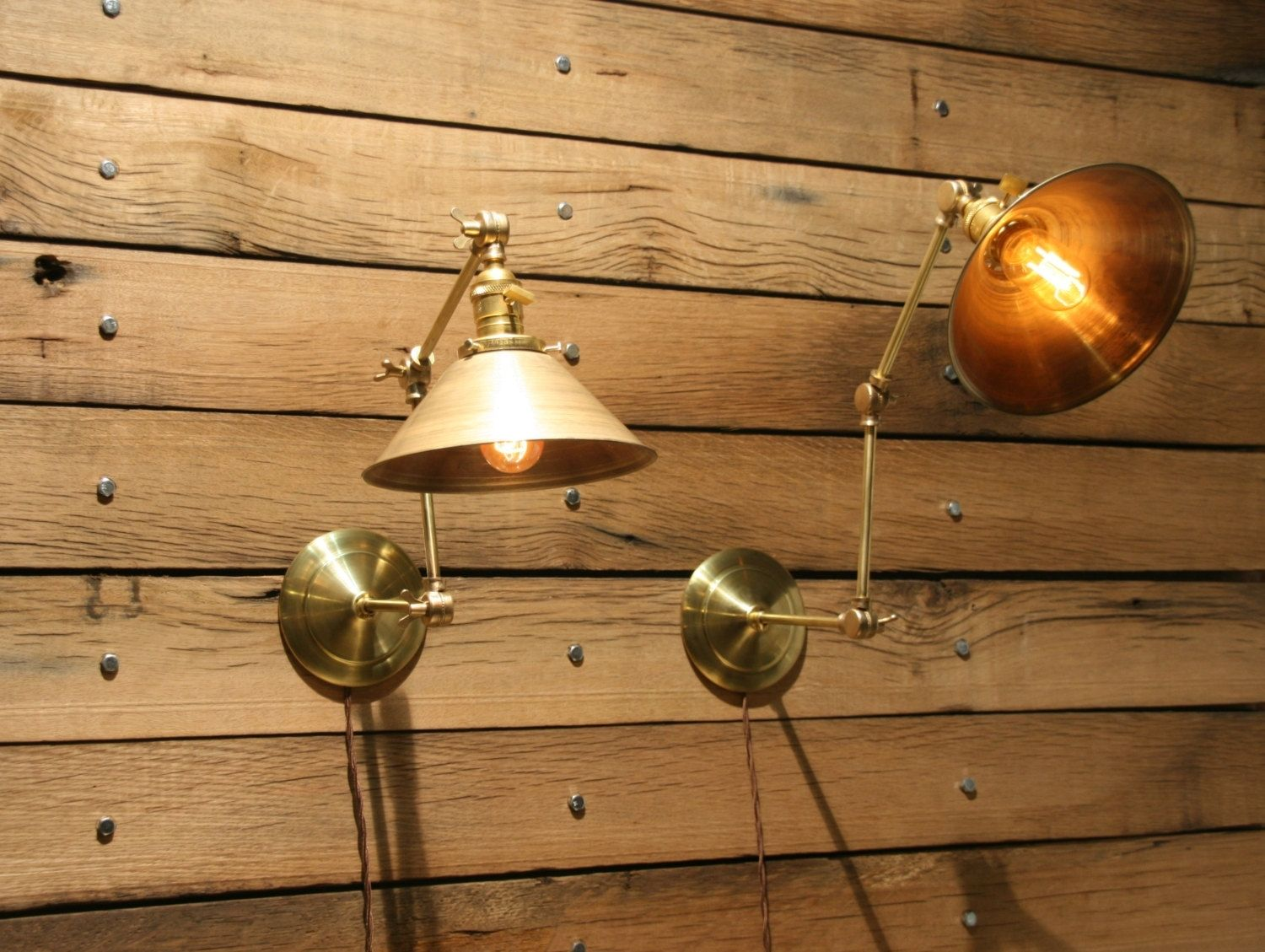 Hand Made Brass Wall Sconce Industrial Articulating Wall