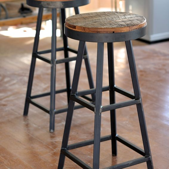 Buy Hand Made Reclaimed Barnboard Custom Raw Steel Bar Stools Made To Order From Ron Corl