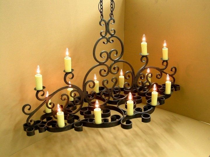 Hand Made Wrought Iron Chandelier By Jensen Design