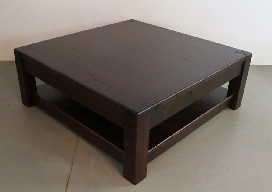 Hand Crafted Custom Square Pine Coffee Table In Expresso Finish By Ecustomfinishes Reclaimed