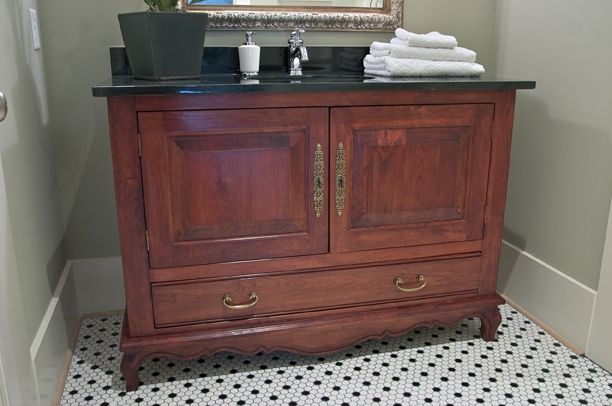 Custom Made French Inspired Cherry Bathroom Vanity By Designer Antiques Ltd