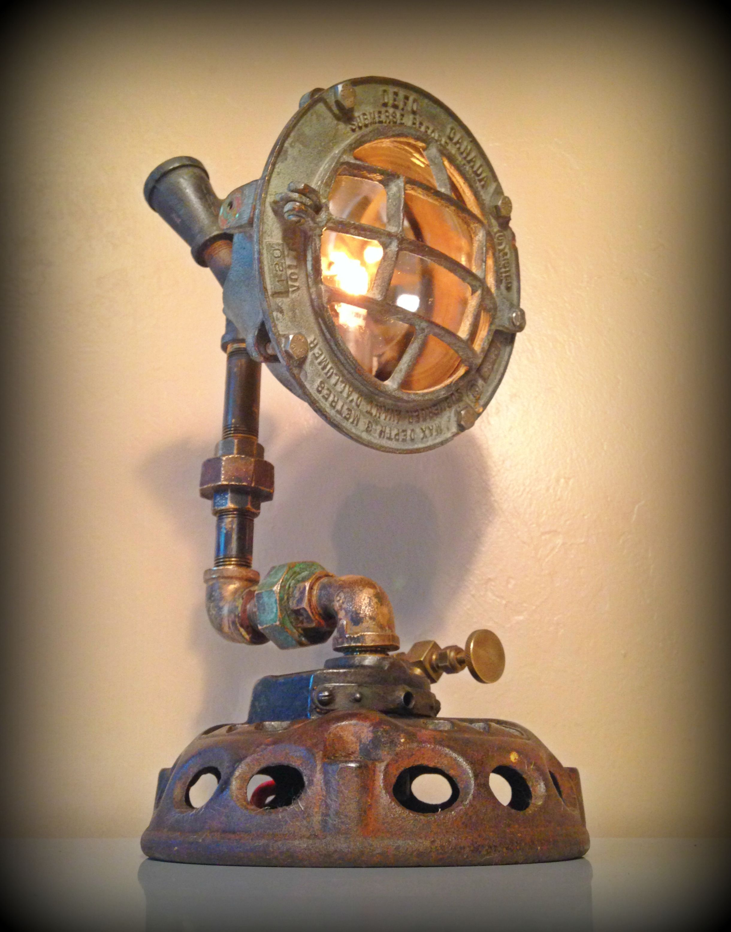 Custom Made Found Object Steampunk Sculpture Lamp By Retro