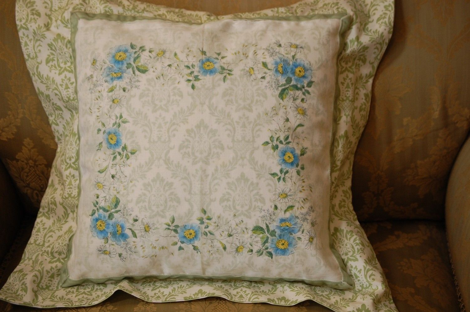 Hand Made Shabby Chic Pillow With Soft Blue Hankie by Petunia Rose Designs CustomMade.com