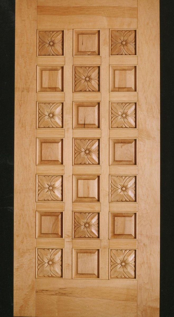 Hand made maple flowers door carved wood entry door by for Custom made wood doors