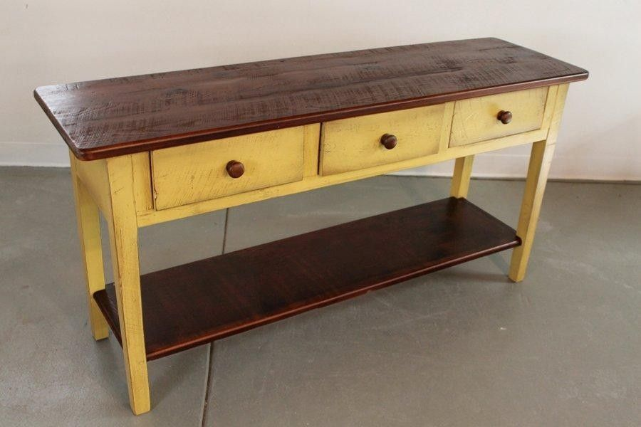 Handmade yellow huntboard from reclaimed pine by for Sofa table yellow