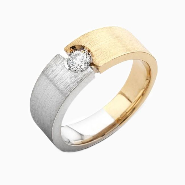 Buy A Hand Crafted Mens 14kt Two Tone Custom Wedding Band