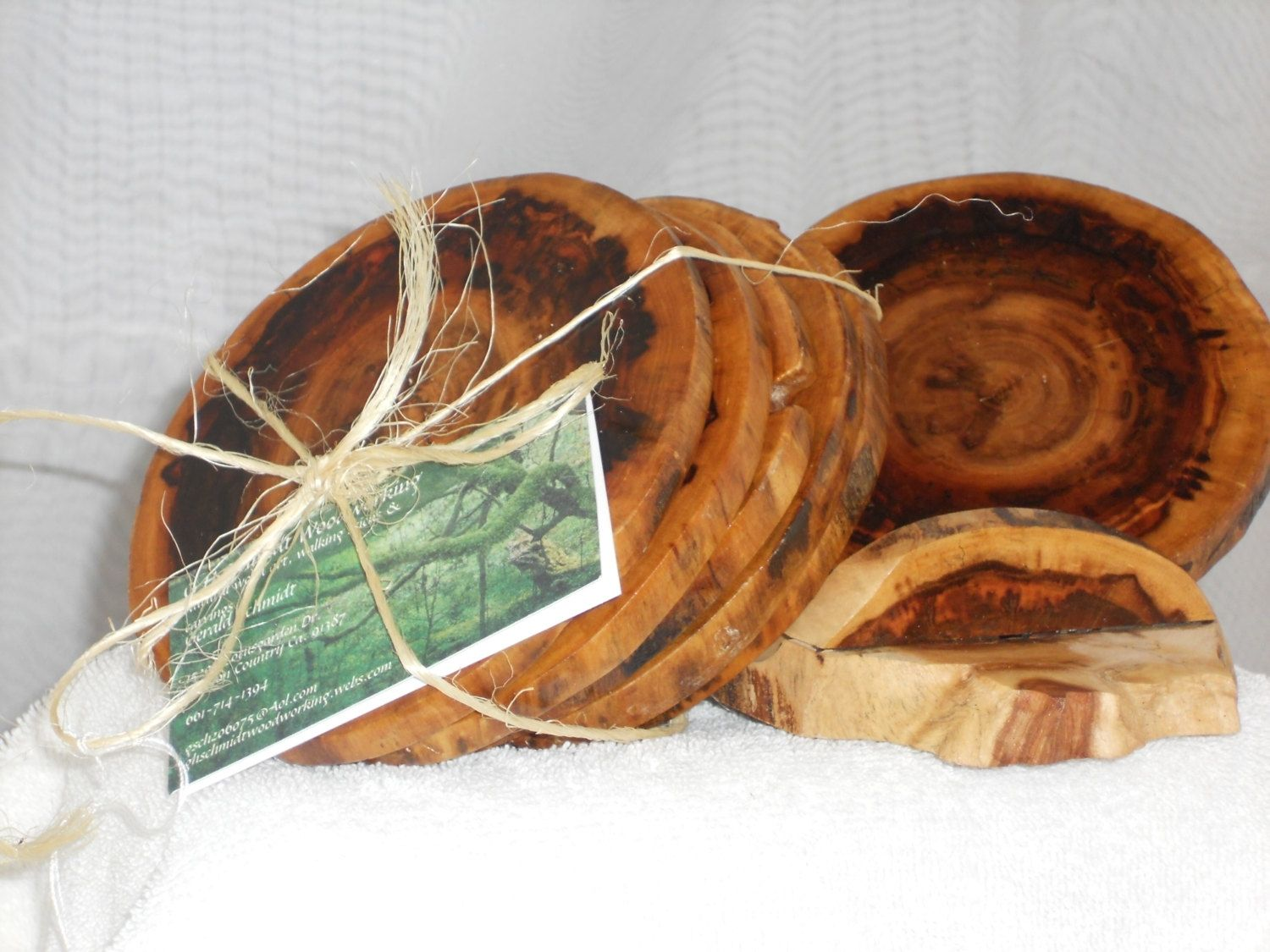Hand made wooden drinks coasters set of six by ghschmidt for Handmade drink coasters