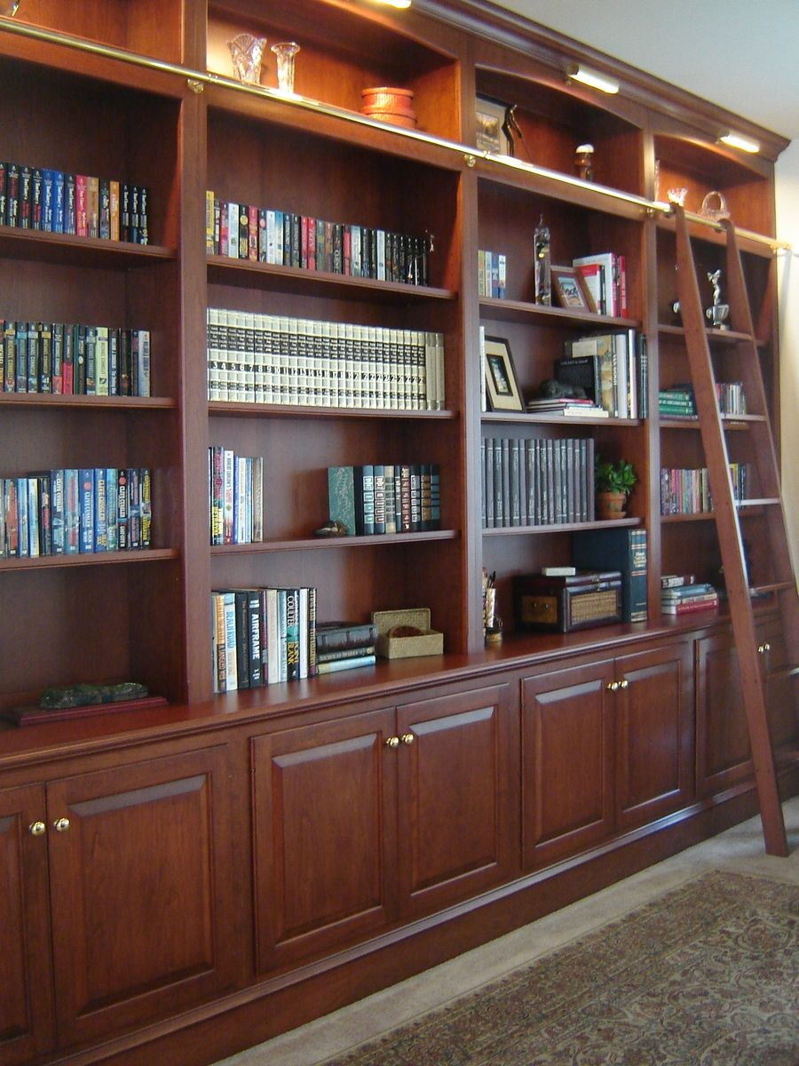 Custom Made Bookcase Wall With Ladder By Odhner  U0026 Odhner