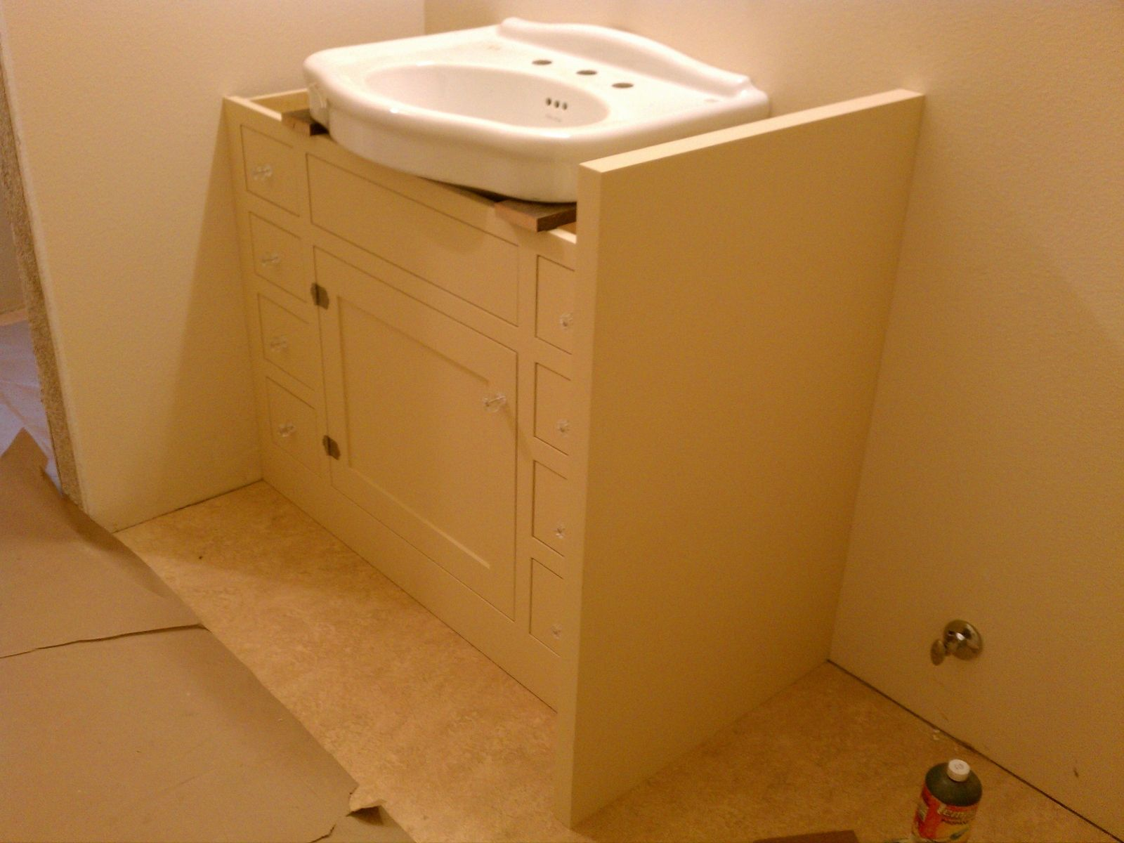 Custom made bath cabinet for pedestal sink by artisan for Bathroom sink toilet cabinets