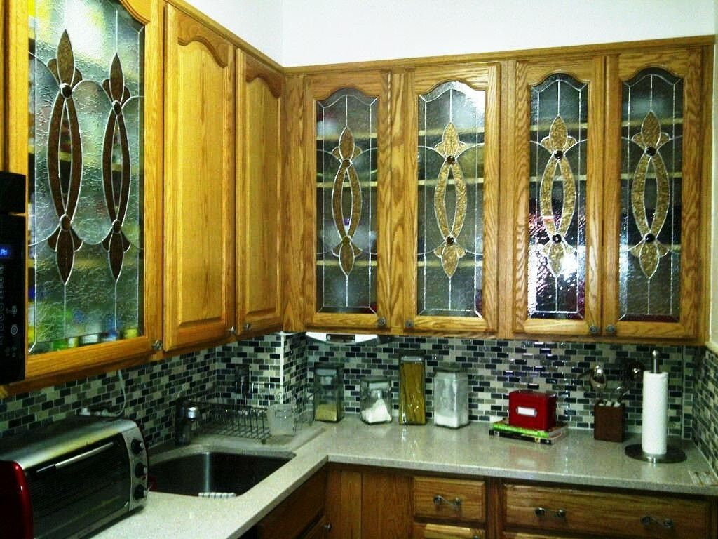 Hand crafted elegant stained glass custom kitchen cabinet for Beveled glass kitchen cabinets