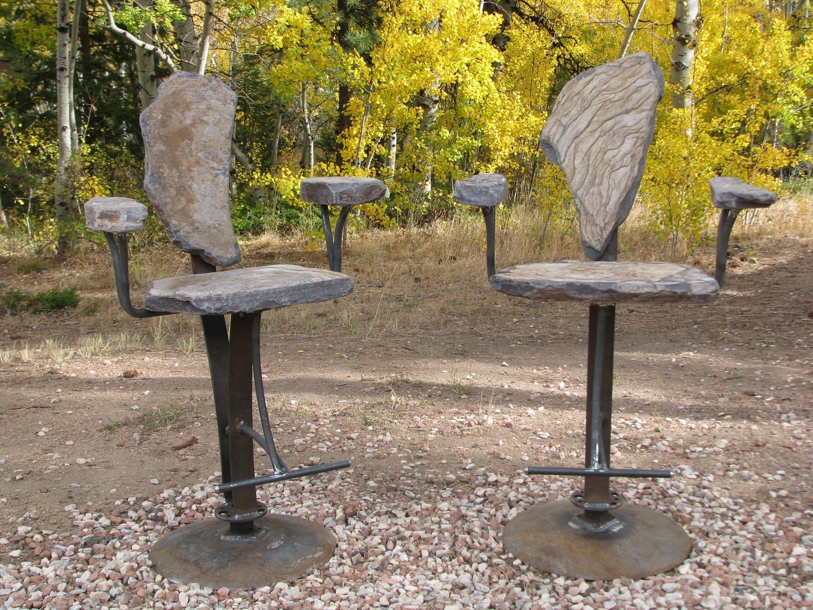Hand Made Stone Swivel Bar Stools With Arms By Stone 2